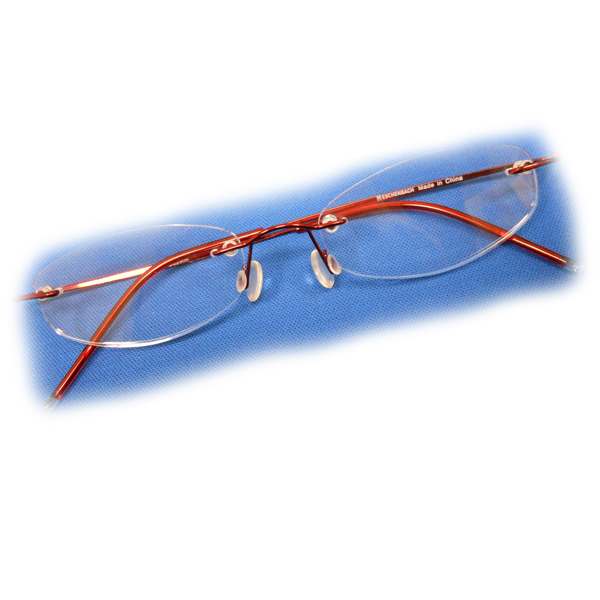 Red Rimless Glasses : +2 Diopter Eschenbach Rimless Reading Glasses - Red Oval