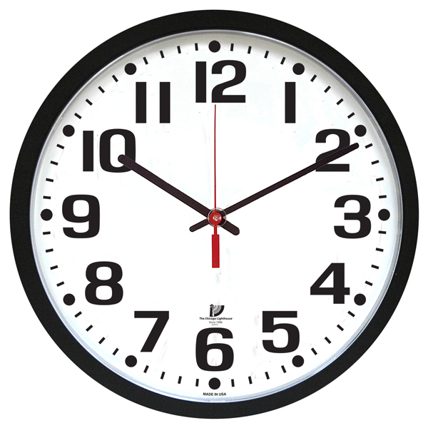 "... 16.5"" Low Vision Quartz Wall Clock - White Face with Black Numbers"