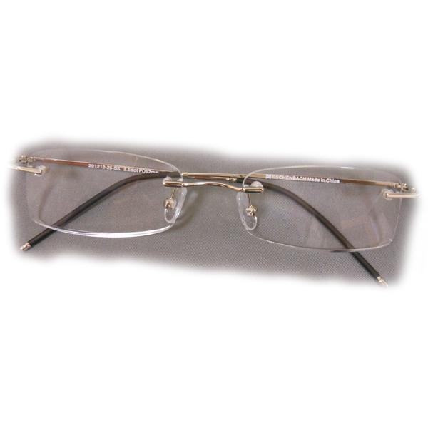 2 diopter eschenbach rimless reading glasses gold rectangle