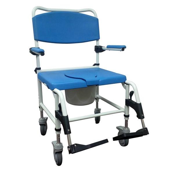 Bariatric Aluminum Rehab Shower Commode Chair 4 Locking
