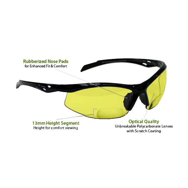 8b82ec7c27 +2.5 Diopter Bifocal Safety Glasses  Yellow Lenses