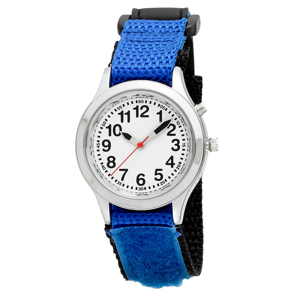 ladies kids talking alarm watch blue fabric strap band choice of voice