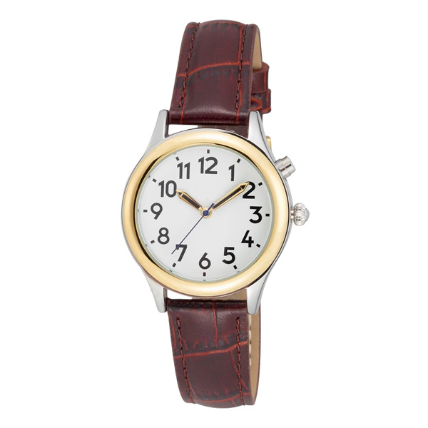 talking watches low vision ladies two tone talking watch white face brown leather band choice of voices male