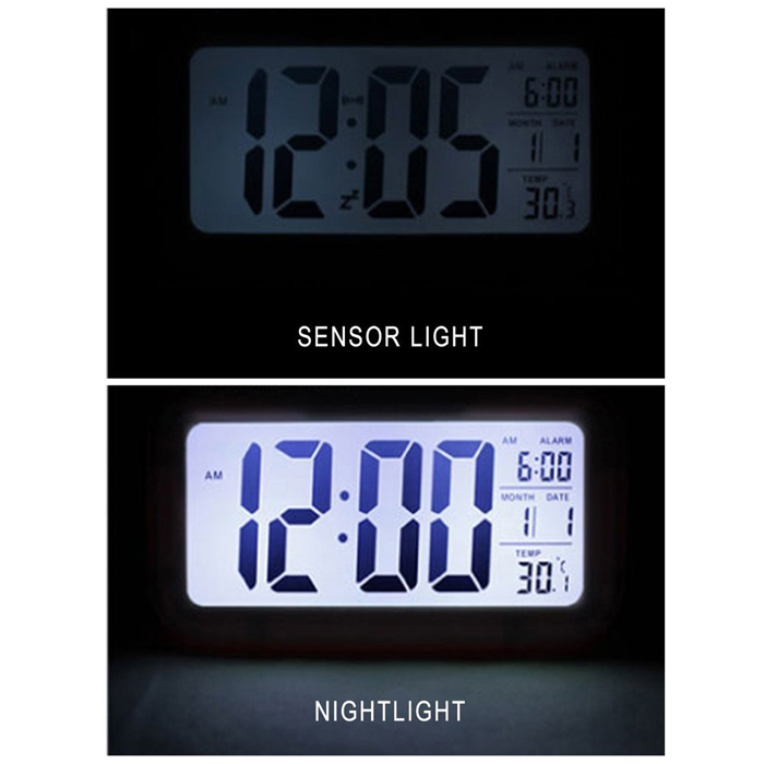 large display lcd digital alarm clock with automatic light sensor. Black Bedroom Furniture Sets. Home Design Ideas