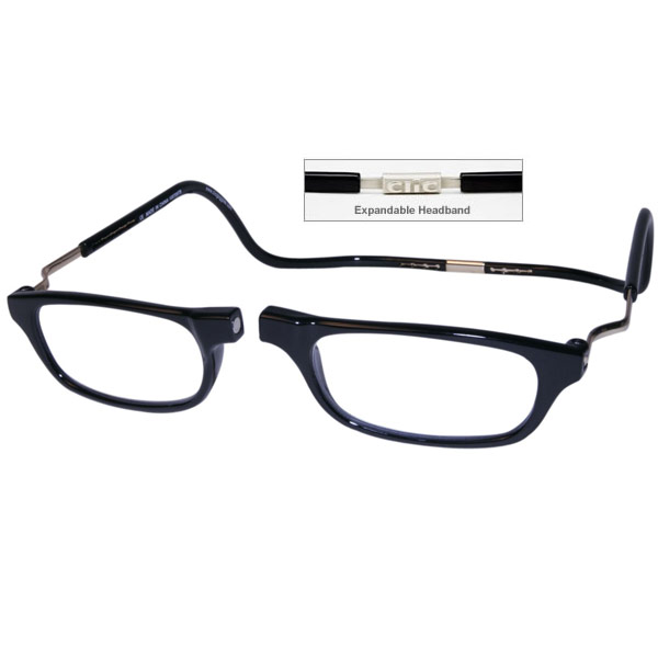 CliC +2.5 Diopter Magnetic Reading Glasses: Expandable - Black