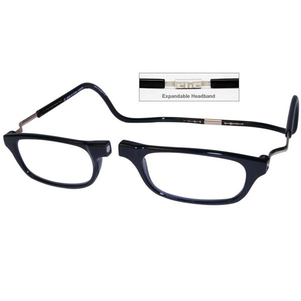Clic Half Frame Black Reading Glasses : CliC +2.5 Diopter Magnetic Reading Glasses: Expandable - Black