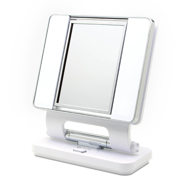 Bon OttLite Natural 5X 1X Lighted Magnifying Makeup Mirror: White
