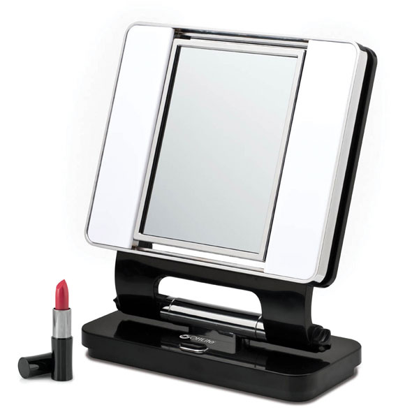 ott lite natural 5x 1x lighted magnifying makeup mirror black. Black Bedroom Furniture Sets. Home Design Ideas
