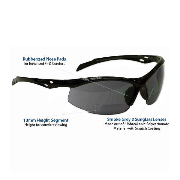 52534bc918 +2.5 Diopter Bifocal Safety Glasses  Smoke Grey Lenses