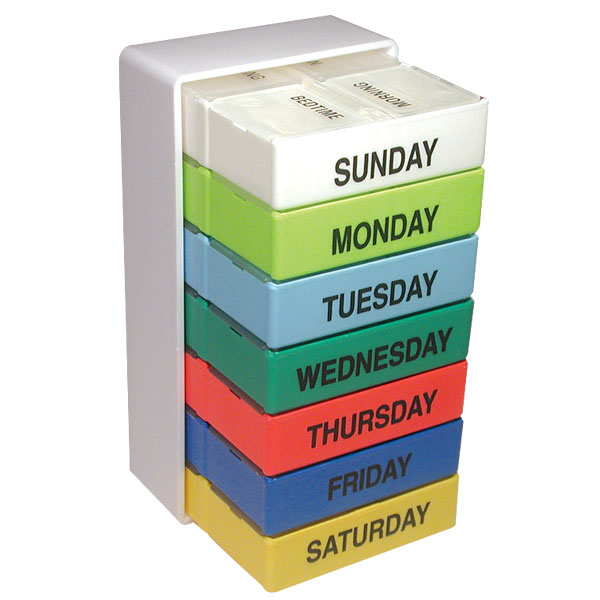 7 Day Color 4 Compartment Pill Boxes