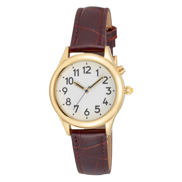 talking watches low vision ladies gold tone talking watch white face brown leather band choice of voices male