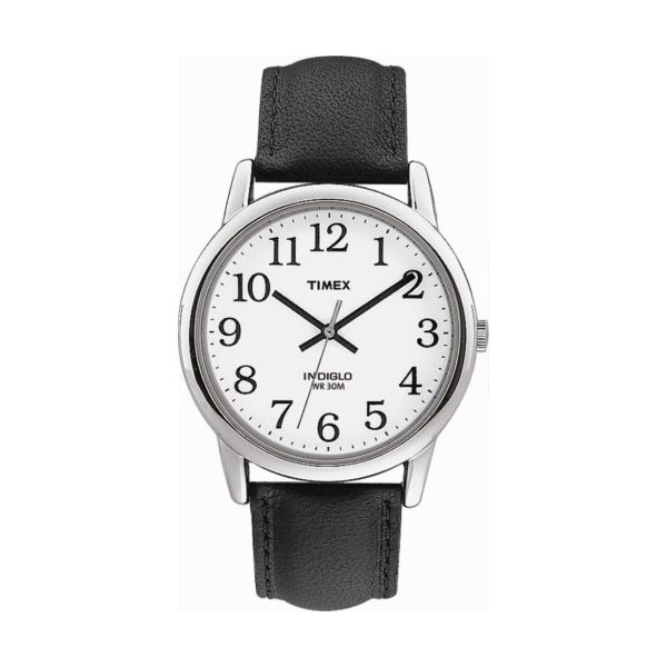 Timex Indiglo Watch Chrome With Leather Band