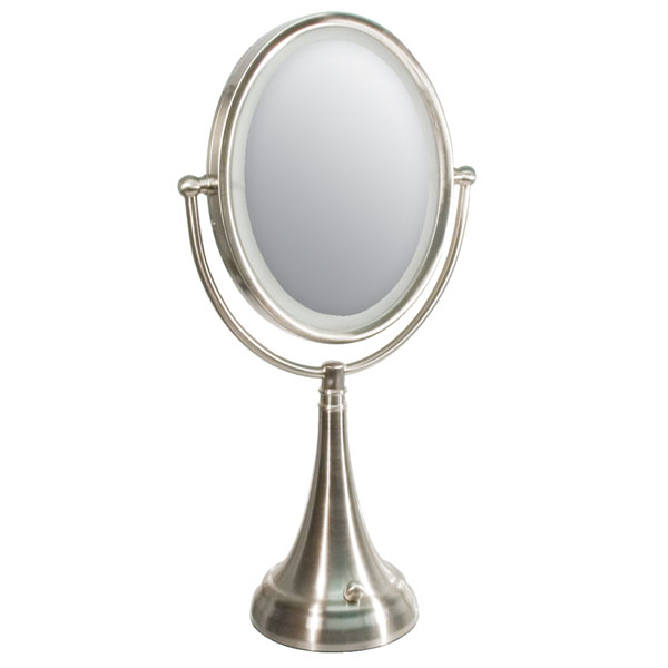 zadro led lighted 10x 1x oval satin nickel vanity magnifying mirror. Black Bedroom Furniture Sets. Home Design Ideas