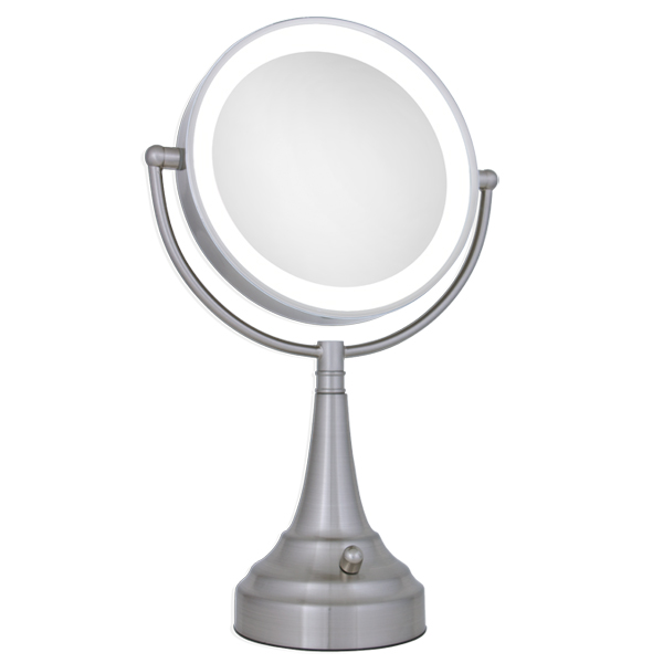 Zadro 10x 1x Led Lighted Round Satin Nickel Vanity Magnifying Mirror