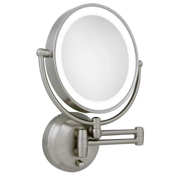 Lighted Bathroom Mirrors Magnifying: Zadro 10X / 1X LED Lighted Round Satin Nickel Wall Magnifying Mirror,Lighting