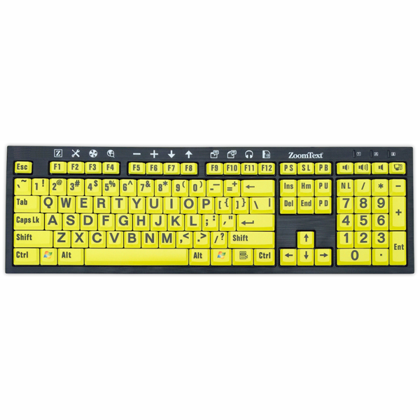 ZoomText Large Print Keyboard - Yellow Keys with Black Print