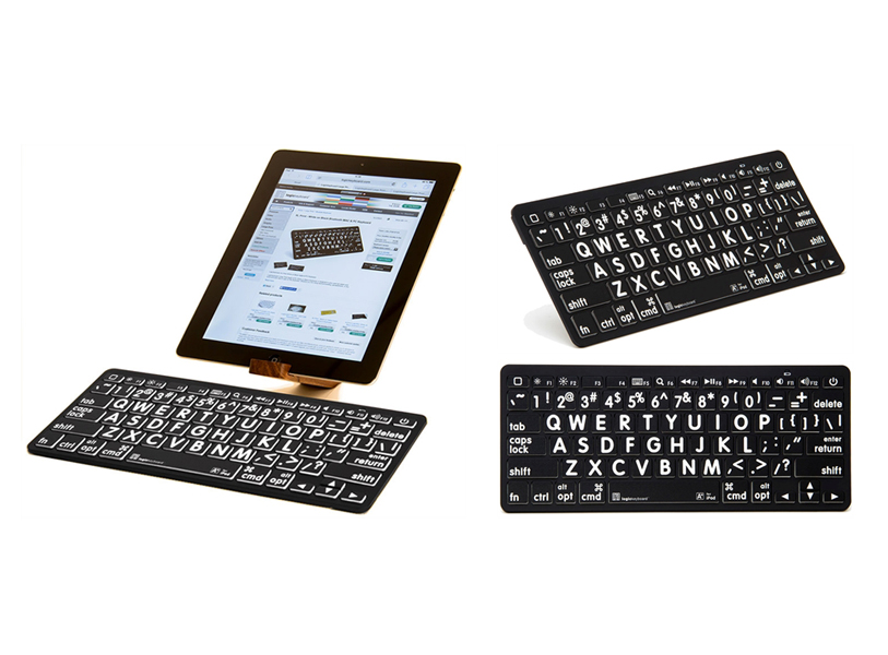 32d6101f0dc Large Print Black Keys with White Print - Bluetooth Mini Keyboard for  iPads, Tablets &
